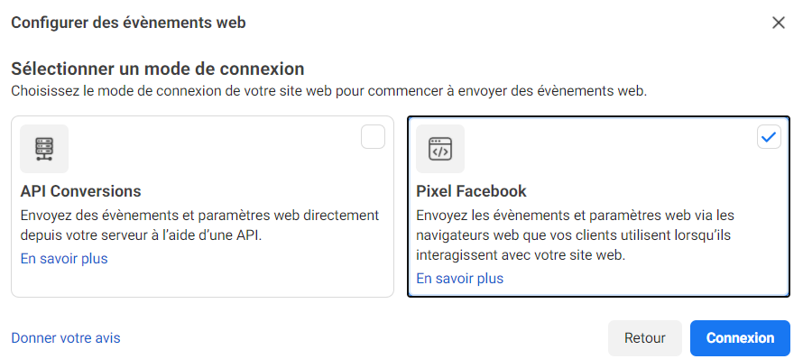 Mode de connexion du Pixel Facebook