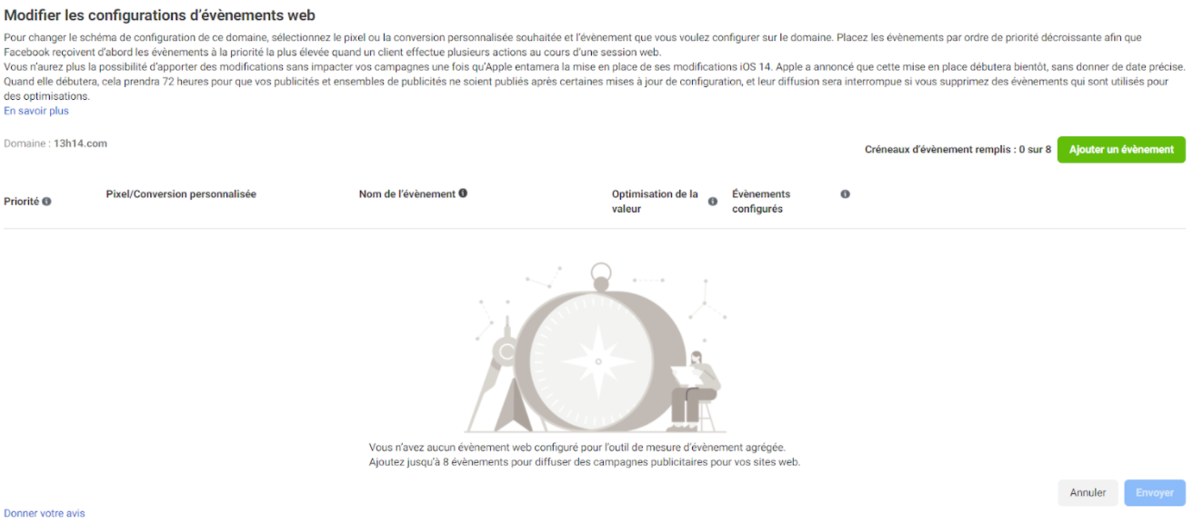 Modifier les configurations web